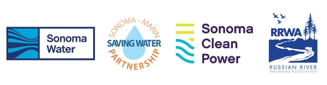 Logo Sonoma Water, Sonoma-Marin Saving Water Partnership, Sonoma Clean Power, Russian River Watershed Association